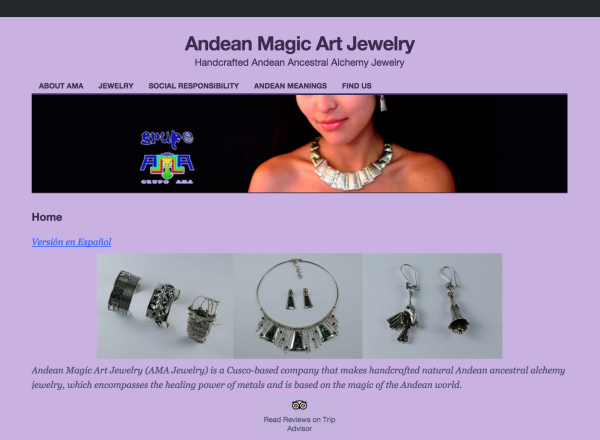 Andean Magic Art Jewelry website