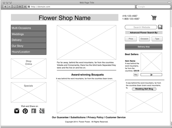 Wireframe Concept 1 for ABC Flower Shop LHetherington